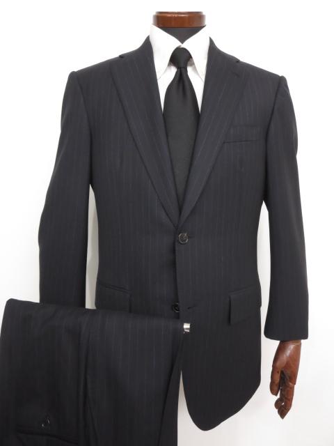 超美品 【ベルベスト Belvest】 Super130's ストライプ 濃紺 ウール シングル スーツ (メンズ) ネイビー size48~50 バーニーズ ★MS2889★ 【中古】