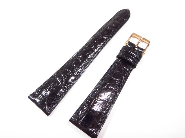 未使用 【カミーユフォルネ camille fournet】 クロコダイル 腕時計レザーベルト(メンズ) 黒×ゴールド  ★CC0197★ 【中古】