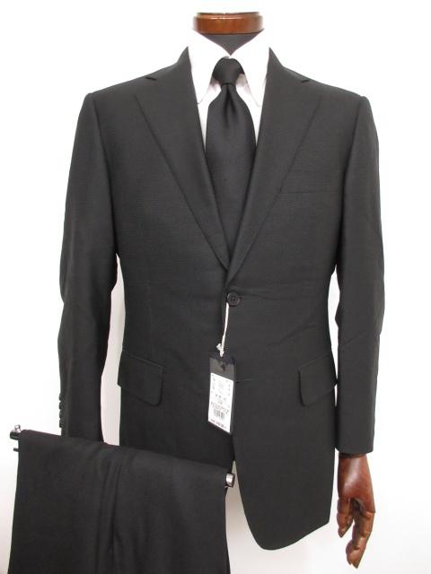 未使用 【アクアスキュータム Aquascutum】シングル2ボタン ウール素材 織柄 スーツ (メンズ) ブラック size92A5 定価16万♪ ★MS3131★【中古】