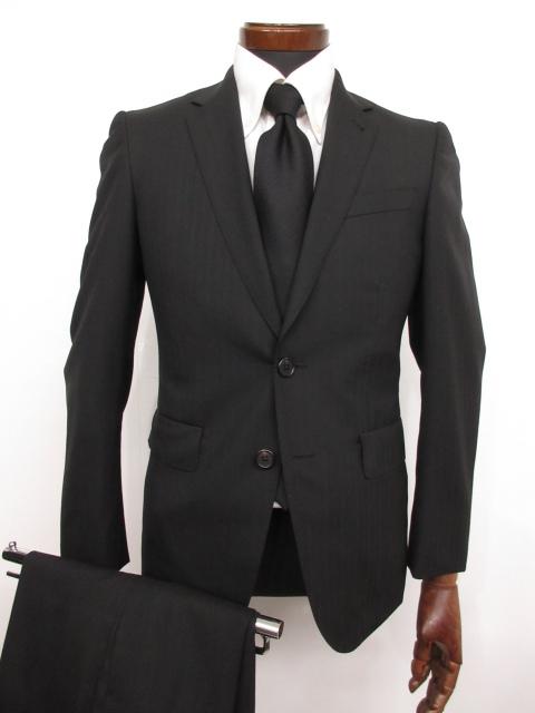 美品 【ポールスミス Paul Smith】裏地プリント柄 シルク混 ストライプ柄 ウール シングル スーツ (メンズ) ブラック sizeS ★MS3139★【中古】