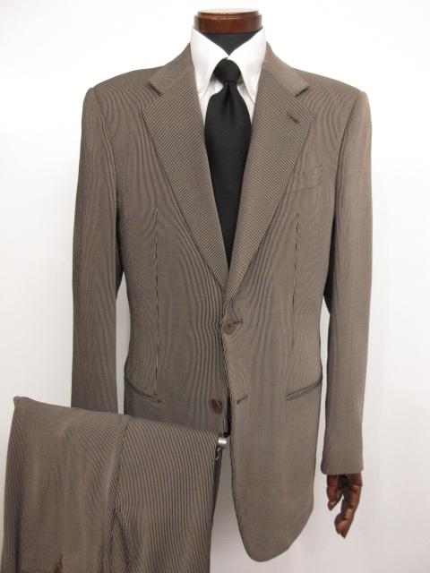 【アルマーニコレツィオーニ ARMANI COLLEZIONI】 ストライプ柄 ウール シングル スーツ (メンズ) ブラック×ベージュ size48 ★MS3146★ 【中古】