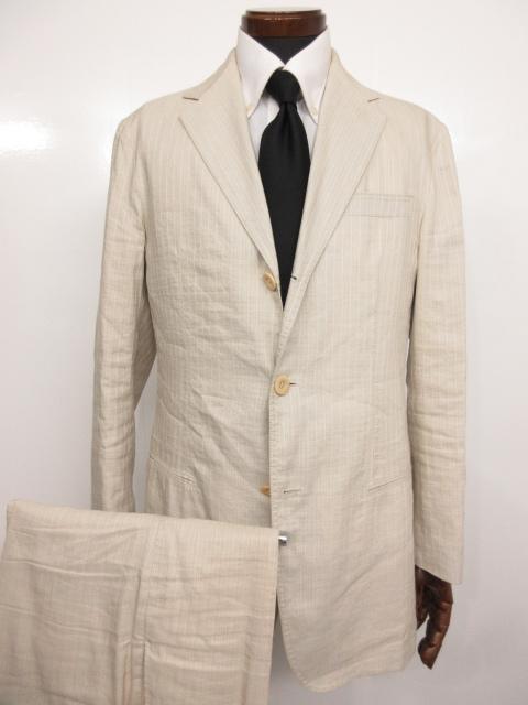 【アルマーニコレツィオーニ ARMANI COLLEZIONI】 シルクリネン ストライプ柄 シングル スーツ (メンズ) ライトグレー size50 ★MS3145★【中古】