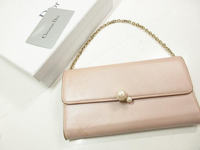 【クリスチャンディオール Christian Dior】ショルダー付き レザー長財布 (レディース) ピンク 取り外し可能 パール付き   ★LE1995★ 【中古】