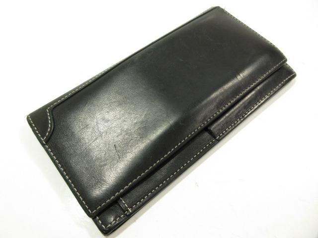 【ジョンロブ JOHN LOBB】 デザインが素敵♪ 二つ折り レザー 長財布 (メンズ) ブラック ★ME2309★ 【中古】