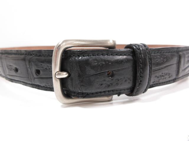 781c9685ddb0 超高級 【パパス Papas】 リアルクロコダイル レザーベルト (メンズ) ブラック 黒 size95
