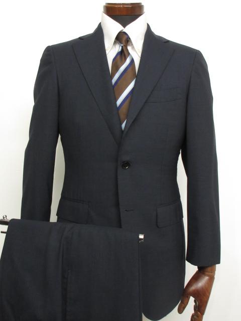 良好 【ビームスF BEAMS】 春夏生地 3ボタン段返り 織柄 シングルスーツ (メンズ) ネイビー size44    ★1MS3358★ 【中古】