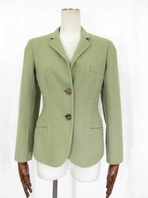 極美品 【ジルサンダー JIL SANDER】 カシミヤ100% シングルジャケット (レディース) グリーン系 size34 上質な肌触り♪ ◎3LJ0680◎【中古】