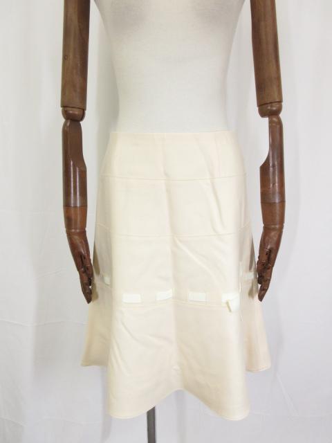 【フォクシー FOXEY】 リボン装飾 ウール フレアースカート size40 (レディース) オフホワイト系 21216-ASAG22 ◎5LF2061◎ 【中古】
