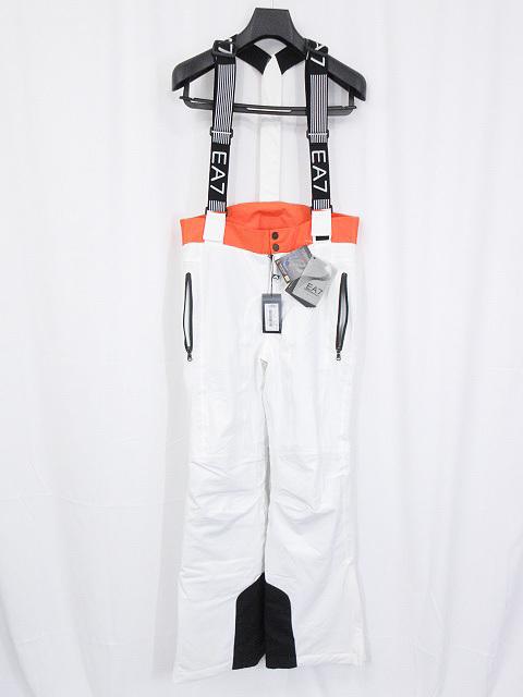 未使用品 【EA7 エンポリオアルマーニ】スノーパンツ スキーウェア (メンズ) ホワイト×オレンジ sizeS 1W360 28272205 ◎4MP3718◎ 【中古】