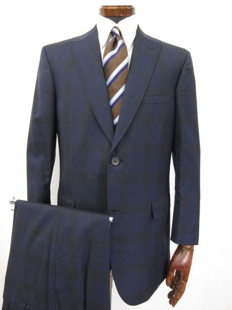 定価110万 着用1回 【ブリオーニ Brioni】 MAY FAIR 2ボタン チェック柄 スーツ (メンズ) エルボーパッチ付き size50 ネイビー ●3HR757●【中古】