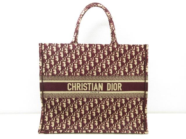 極美品 【クリスチャンディオール Christian Dior】 50-MA-0188 トロッター ブックトート トートバッグ (レディース) ボルドー ◎2HT720◎ 【中古】