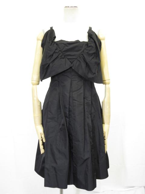 極美品 【シャネル CHANEL】 06P 高級 シルク100% プリーツワンピース ドレス (レディース) 3枚仕立て 黒 size38 ブラック  ◎3HR639◎ 【中古】