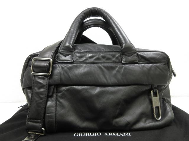 【ジョルジオアルマーニ GIORGIO ARMANI】 2way オールレザー ショルダーバッグ ハンドバッグ (メンズ) ブラック ◎2MG1211◎【中古】