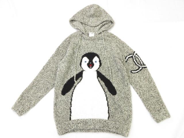新品同様 【シャネル CHANEL】 07A ペンギン ニットパーカー (レディース) グレー系 大きなココマーク セーター P31741K00634 ◎1HT739◎ 【中古】