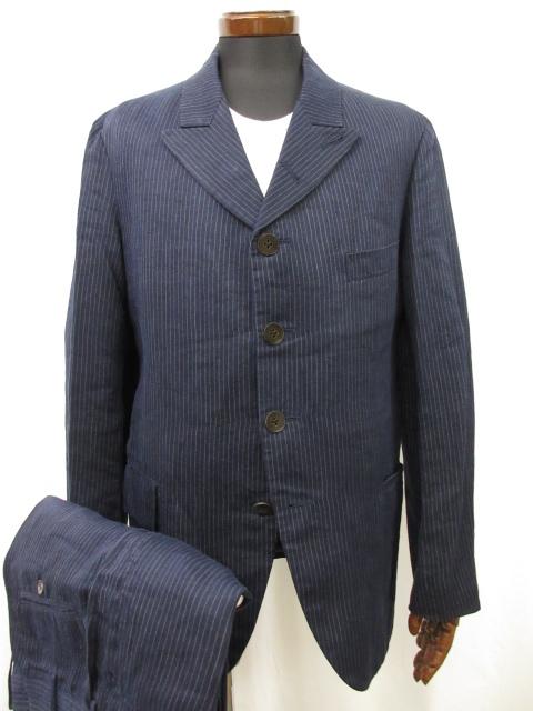 【ヨウジヤマモトプールオム yohji yamamoto】シングルボタン ストライプ柄 スーツ セットアップ (メンズ) size3 ネイビー ●11MS5777【中古】