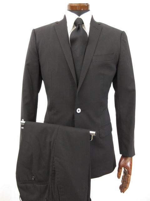 訳あり 【ドルチェ&ガッバーナ DOLCE&GABBANA】 黒無地 シングル2ボタン スーツ (メンズ) size44 ブラック 冠婚葬祭OK ●5MS5171● 【中古】