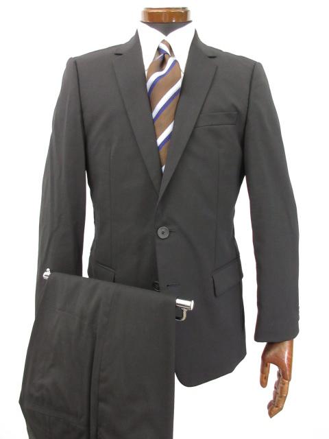 美品 【HUGO ヒューゴボス HUGO BOSS】 2ボタン 黒無地 スーツ (メンズ) 黒 size46 ブラック 冠婚葬祭 ●3MS5201● 【中古】