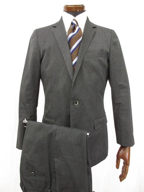 超美品 【ソリード SOLIDO】 シングル1ボタン 織柄 スーツ (メンズ) 微光沢 size03 チャコールグレー ●3MS5202● 【中古】