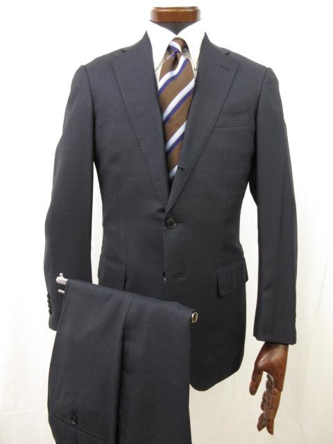 美品 【トゥモローランド】 コロンボ生地使用 シルク15% 3ボタン 段返り 織柄 スーツ (メンズ) size46 ネイビー系 バーズアイ ●6MS5244● 【中古】