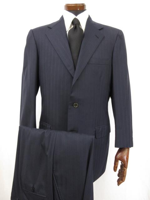 美品 【ブリオーニ Brioni】 Super180's 高級 シングル3ボタン ストライプ柄 スーツ (メンズ) PALATINO size48 ネイビー ●3HR778●【中古】