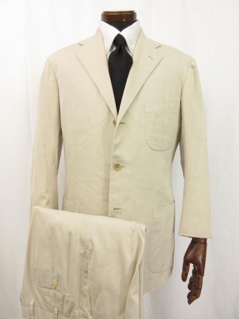 【キートン kiton キトン】 シングル3ボタン コットン素材 スーツ (メンズ) 3パッチポケット size47-49 ベージュ イタリア製 ●3HR777● 【中古】