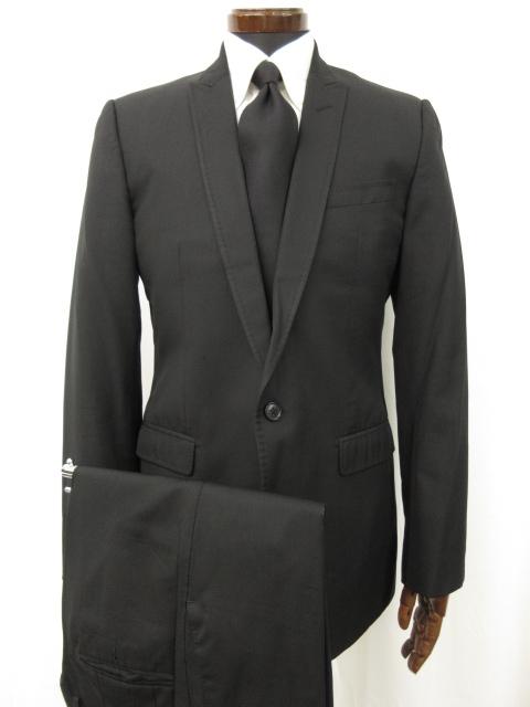 美品 【ドルチェ&ガッバーナ DOLCE&GABBANA】 MARTINI シルク40% シングルスーツ (メンズ) size48 ブラック 織柄 ●7MS4870● 【中古】