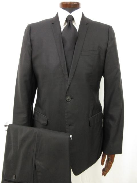 美品 【ドルチェ&ガッバーナ DOLCE&GABBANA】 GOLD シルク40% 光沢感のあるシングルスーツ (メンズ) size48 ブラック ●7MS4824●【中古】