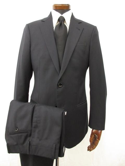 超美品 【ジョルジオアルマーニ GIORGIO ARMANI】 2ボタン ストライプ織り スーツ (メンズ) 黒ラベル size48 ネイビー 伊製 ●3MS5001●【中古】