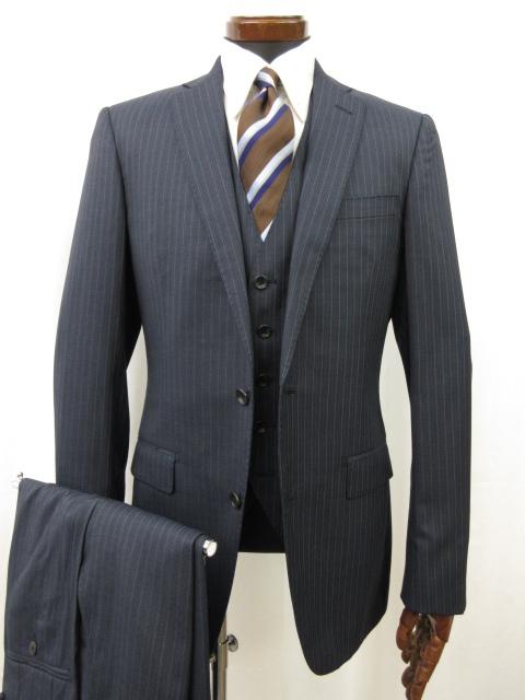 未使用 【オンリー ONLY】 シングル2ボタン ストライプ柄 3ピース スーツ (メンズ) ネイビー size180Y 春夏にも♪ ●3MS5916●【中古】