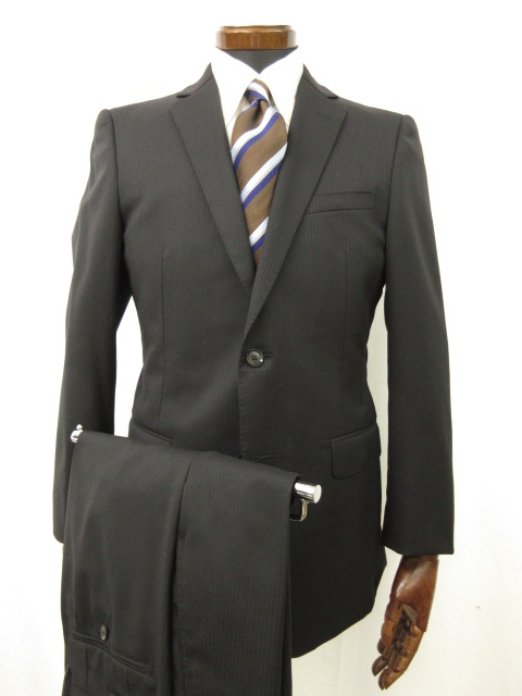 超美品 【バーバリーロンドン BURBERRYLONDON】シルク混 2ボタン ストライプ柄 スーツ (メンズ) size38R ブラック ●6MS4968● 【中古】