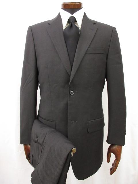美品ヴァレンティノ VALENTINOシングル2ボタン 織柄 スーツメンズsize46 チャコールグレー系 イタリア製6MS5693dBreCxo