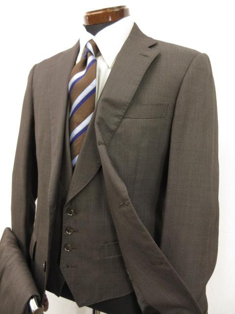 極美品 【スーツセレクト SUIT SELECT】 シングル3つボタン段返り 3ピーススーツ (メンズ) sizeA6 ブラウン系 織柄 SLL1202  ●5MS5377● 【中古】