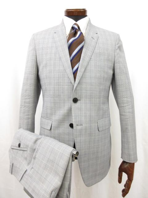 美品 【ポールスミスロンドン THE Kendington】 グレンチェック柄 シングルスーツ (メンズ) size36 6R ライトグレー●7MS5699● 【中古】