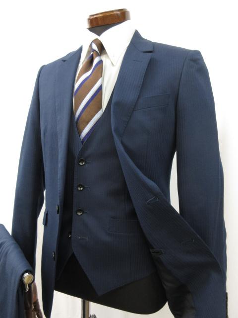 美品 【スーツセレクト SUIT SELECT】 2ボタン ストライプ柄 3ピース スーツ (メンズ) sizeY4 青みのあるネイビー BLD1505 ●3MS5877● 【中古】