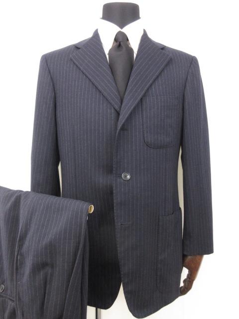 サルトリアパルテノペア vannucci Super120's ストライプ柄 日本正規代理店品 シングル3ボタン スーツ size48 信託 メンズ 16MS8266 中古 濃紺