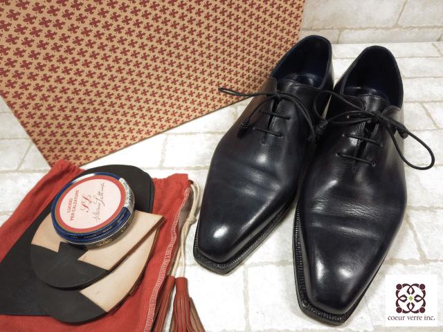 超美品 【シルヴァノラッタンジ】 ワンピース ドレスシューズ (メンズ) ネイビー size5 紳士靴 ホールカット ◯MZ2750◯ 【中古】