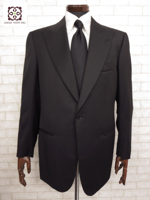 超美品 【チェザーレアットリーニ Cesare Attolini】 Super130's 黒無地 シングル ジャケット (メンズ) ブラック size50   ◯MJ1788◯ 【中古】