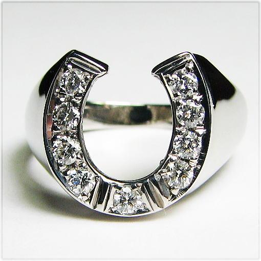 ダイヤモンドの馬蹄リング  K18WG メンズサイズ