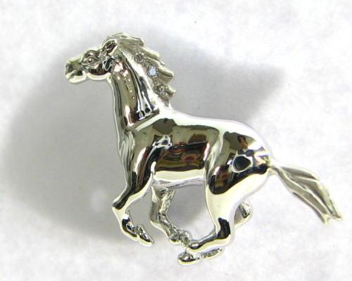 凛々しい馬 ダイヤ付 タイタック・コレット/K18YG/K18WG