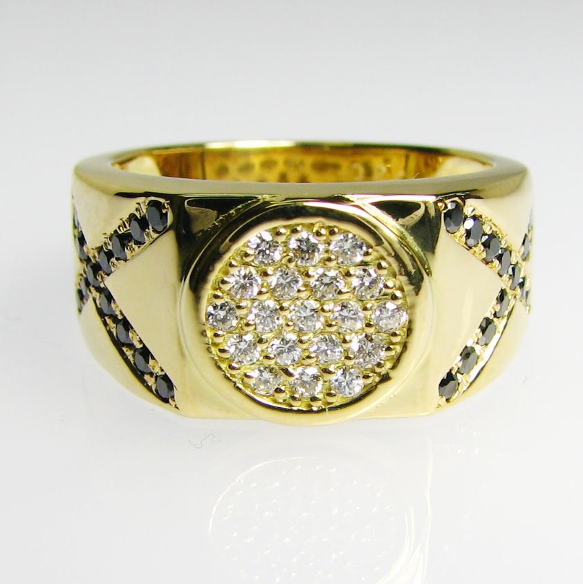 K18メンズリング・円とクロスのデザインリング・ダイヤモンド・ブラックダイヤモンド・指輪・送料無料・品質保証書付