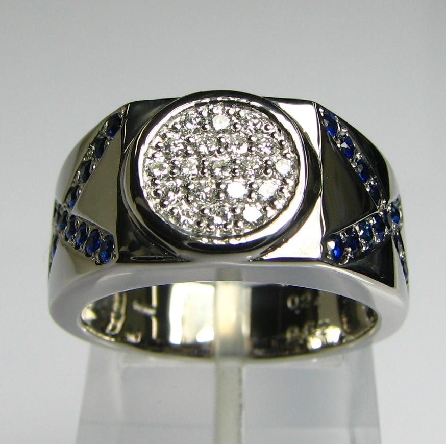 PTメンズリング 円とクロスのデザインリング ダイヤモンドサファイヤ 送料無料 品質保証書付 指輪