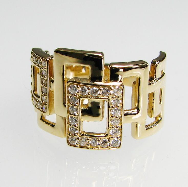 幅広デザインリング ダイヤモンド0.28ct K18WG/YG/PG 個性的 豪華 長四角 人差し指 大振り 送料無料 品質保証書 指輪 ご褒美