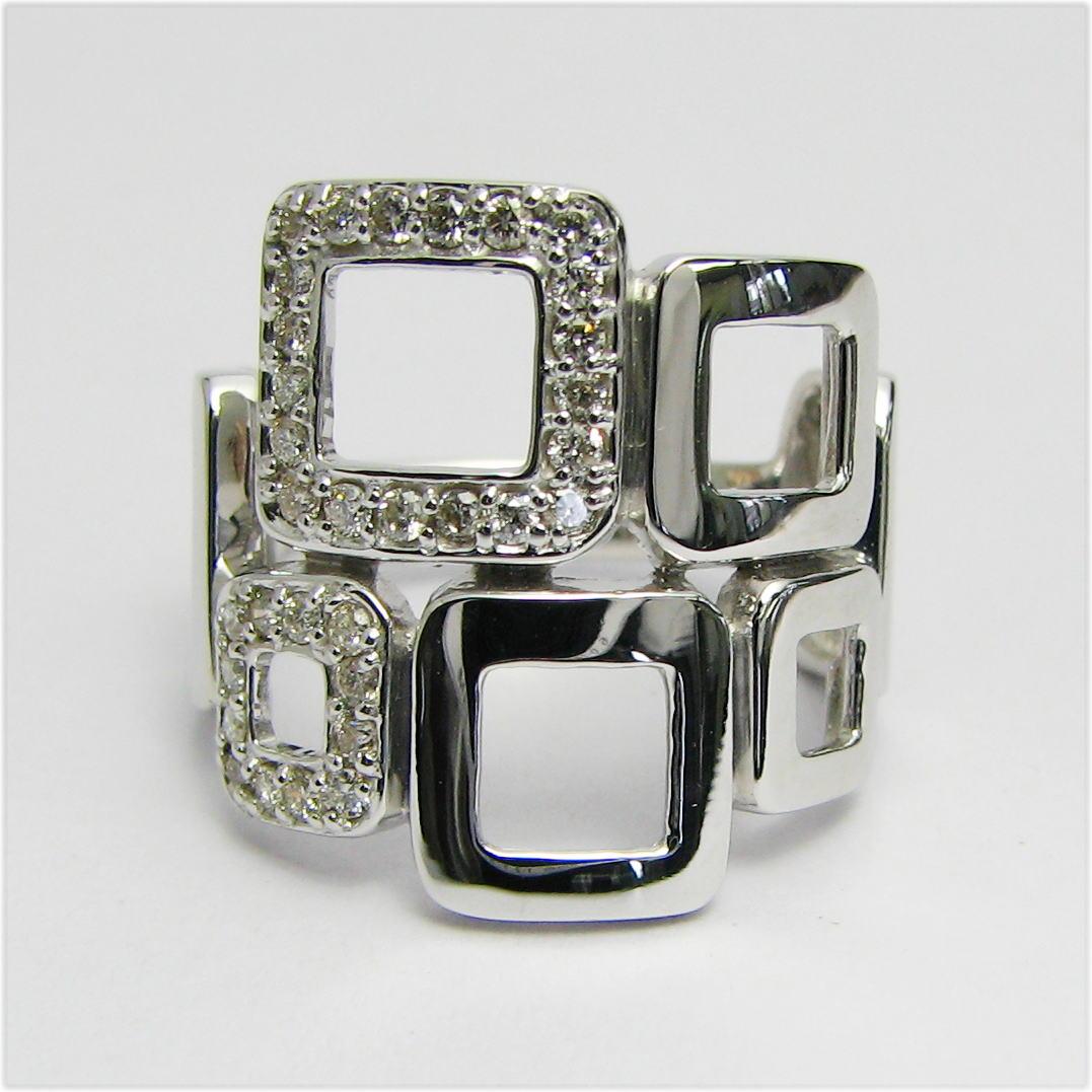 幅広デザインリング ダイヤモンド0.30ct K18WG/YG/PG 個性的 豪華 四角 人差し指 大振り 送料無料 品質保証書 指輪 ご褒美