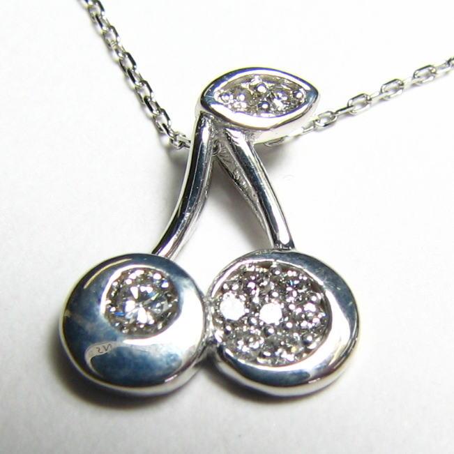 さくらんぼのプチネックレス ダイヤモンド0.15ct K18WG・PG・YG プレゼント 送料無料 品質保証書付
