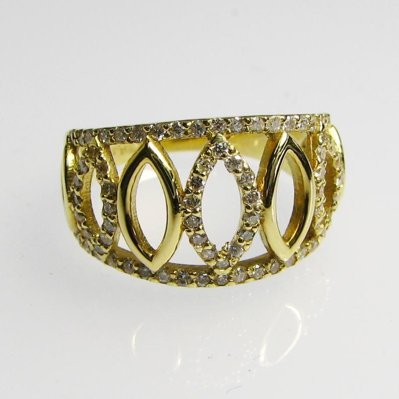 マーキスを並べたスマートなデザインのダイヤモンドリング K18YG・PG・WG 大振り 送料無料 品質保証書付