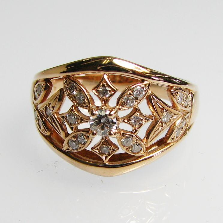 流線型デザインダイヤモンドリング・K18WG・PG・PG  送料無料 品質保証書付