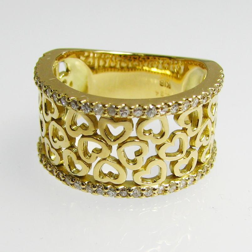 ハートがいっぱい デザインリング ダイヤモンド K18WG/YG/PG アンティーク風 個性的 送料無料 品質保証書 指輪 ご褒美