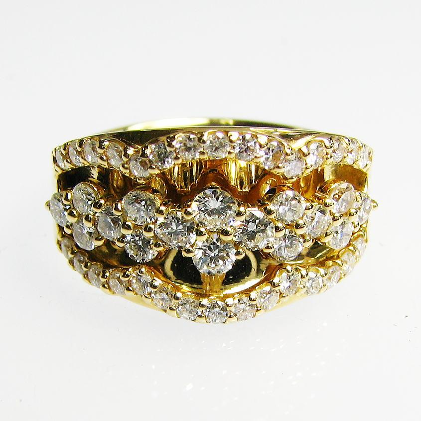 反射 ダイヤのきらめきがまぶしい デザインリング ダイヤモンド K18WG/YG/PG 個性的 送料無料 品質保証書 指輪 ご褒美