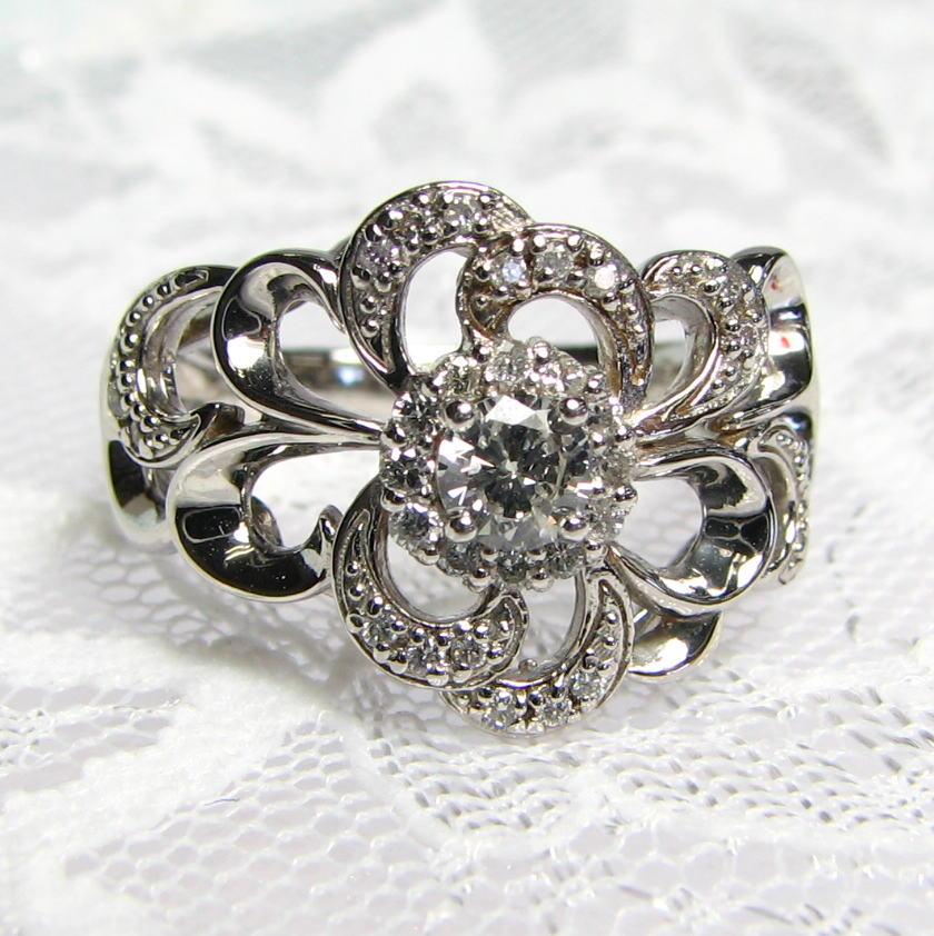 幅広 デザインリング ダイヤモンド K18WG/YG/PG 大輪の花のようなデザイン 個性的 送料無料 品質保証書 指輪 ご褒美