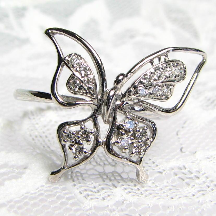 蝶々モチーフ デザインリング ダイヤモンド K18WG/YG/PG 個性的 送料無料 品質保証書 指輪 ご褒美